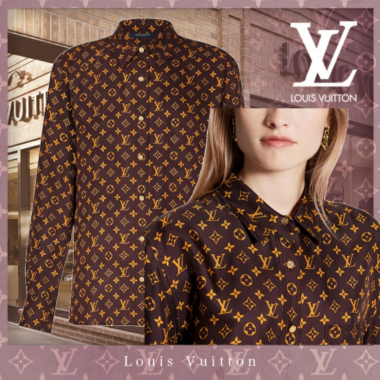 20FW 直営 Louis Vuitton モノグラムツイルロングスリーブシャツ (Louis Vuitton/ブラウス・シャツ) 1A8BSN  1A8BSO  1A8BSP