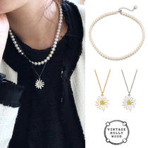VINTAGE HOLLYWOOD★Classic Pearl+Vintage Daisy Necklace