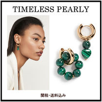 関税送料込【TIMELESS PEARLY】Green Hoopsピアス