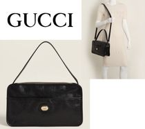 GUCCI☆Black Soft Leather Convertible Messenger Bag
