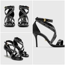 送料関税無料 [VERSACE] HEELED SANDALS WITH LOGO STRAP