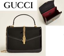 GUCCI☆Black Sylvie 1969 Small Patent Leather Shoulder Bag