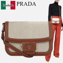 PRADA  EMBLEME CANVAS AND SMOOTH LEATHER CROSSBODY BAG