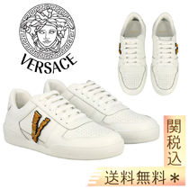 【Versace】Ilus Virtus Versace leather sneakers V monogram