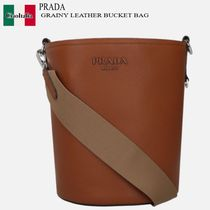 PRADA GRAINY LEATHER BUCKET BAG