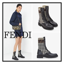 FENDI☆ FFモチーフ Biker Ankle Boots in Black Leather