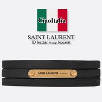 SAINT LAURENT ID leather wrap bracelet