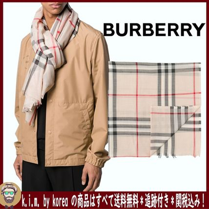 <BURBERRY>LIGHTWEIGHT CHECK WOOL AND SILK SCARF/STONE