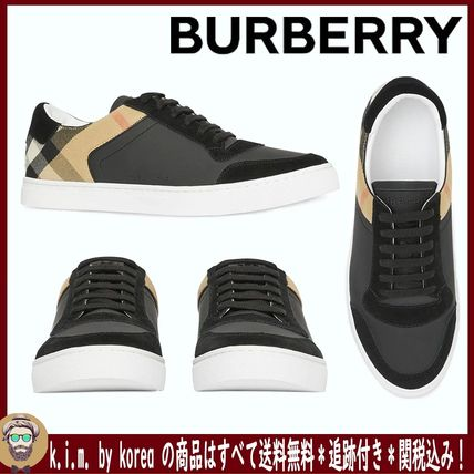 <BURBERRY>LEATHER, SUEDE AND HOUSE CHECK SNEAKERS