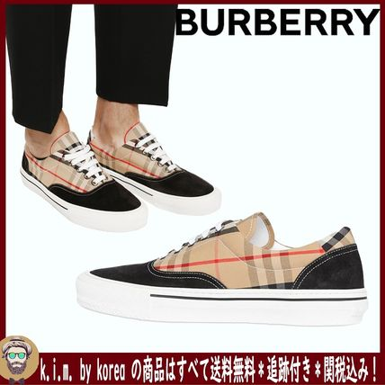 <BURBERRY>VINTAGE CHECK COTTON AND SUEDE SNEAKERS