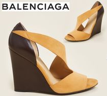 BALENCIAGA☆Tangerine & Brown Wedge Suede Sandals