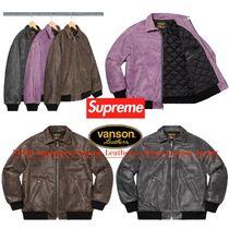 FW20 Supreme × Vanson Leathers Worn Leather Jacket