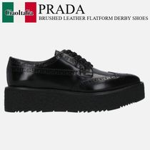 PRADA BRUSHED LEATHER FLATFORM DERBY SHOES