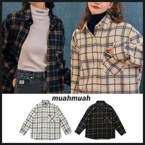 ◆MUAHMUAH◆ POINT OVER FIT CHECK SHIRT 2色 チェックシャツ
