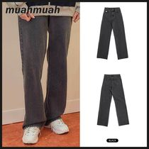 ◆MUAHMUAH◆ POINT RELAX FIT BLACK JEAN ワイドジーンズ