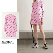[BALENCIAGA] Printed ribbed-knit mini dress 送料関税込