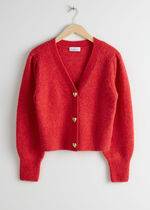 & Other Stories(アンドアザーストーリーズ) カーディガン & Other Stories☆Heart Button Alpaca Blend Cardigan(red)