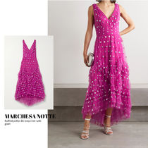 [MARCHESA NOTTE]  polka-dot sequined tulle gown 送料関税込