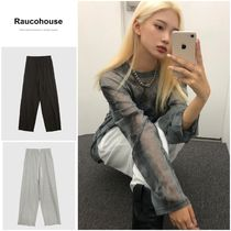 最安値挑戦【RAUCOHOUSE】OVERLOCK BANDING COTTON WIDE PANTS