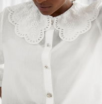 """& Other Stories"" Button Up Crochet Collar Blouse White"