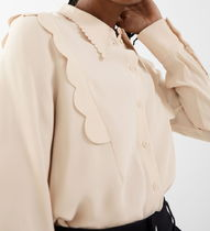 """""""& Other Stories"""" Scalloped Jacquard Shirt Beige"""