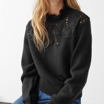 """""""& Other Stories"""" Wool Blend Scalloped Sweater Black"""