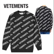 VETEMENTS ALL OVER PRINT CREW KNIT BLACK & WHITE ヴェトモン