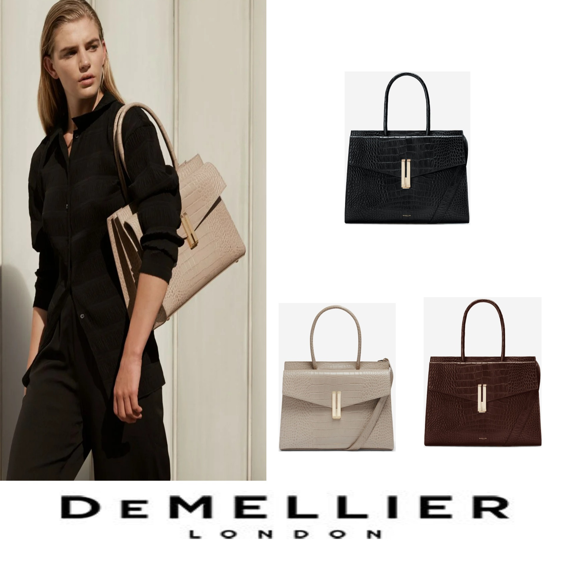 DEMELLIER メーガン妃ご愛用ブランド バッグ 日本未出店 (DEMELLIER/クラッチバッグ) THE MAXI MONTREAL LONG HANDLES