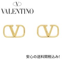 【Valentino】Garavani VLogo Stud Earrings ゴールドピアス