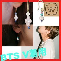 BTS V着用☆VINTAGE HOLLYWOOD☆Unbalance Beads Hook Earring☆