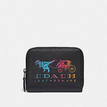 COACH SMALL ZIP AROUND WALLET WITH REXY AND CARRIAGE