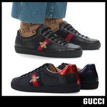 【GUCCI グッチ】Ace Sneaker Black Leather With Bee