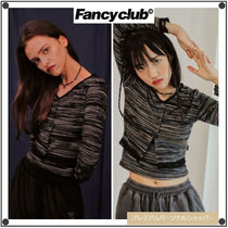 NASTY FANCY CLUBの[NF] STRIPE LACE CARDIGAN SET UP 全2色