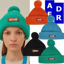 ★Adererror★Crumple leather patch beanie 4色
