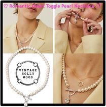 ★VINTAGE HOLLYWOOD★Romantic Heart Toggle Pearl Necklace★
