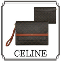 CELINE☆ Triomphe Canvas and Lambskin Flap Clutch Brown