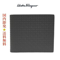 Salvatore Ferragamo 66-A510 0714564 NERO PEBBLE折財布 (新品)
