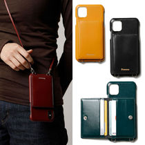 ★FENNEC★本革 韓国 人気 LEATHER iPHONE 11 STRAP POCKET CASE