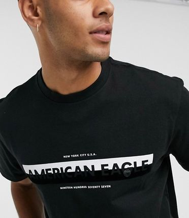 American Eagle Outfitters Tシャツ・カットソー ★American Eagle★全2色コントラスト ロゴTシャツ 関税送料込(2)
