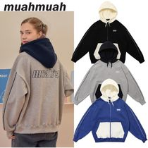 【muahmuah】20FW Point Line Napping Hoodie ジップアップ 3色