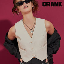 ★CRANK★FAKE LEATHER CROP VEST_IV★正規品★韓国直送料込