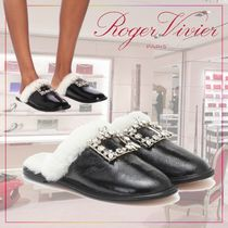 【Roger Vivier】shearling-trimmed leather slippers506789