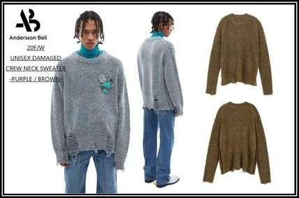 ★AnderssonBell★20F/W‐UNISEX DAMAGED CREW NECK SWEATER-