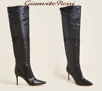 GIANVITO ROSSI☆Black Valeria Thigh-High Leather Boots
