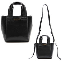 ACNE STUDIOS MINI LEATHER TOTE BAG IN CRINKLED LEATHER