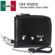 OFF WHITE  smooth leather chain wallet