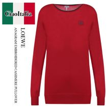 LOEWE ANAGRAM EMBROIDERED CASHMERE PULLOVER
