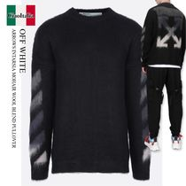 OFF WHITE ARROWS INTARSIA MOHAIR WOOL BLEND PULLOVER
