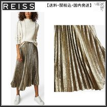 【海外限定】REISS スカート☆Gemma metallic pleated satin-cre
