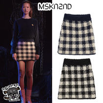 【MSKN2ND】CHECK EYELASH YARN MINI SKIRT 2色